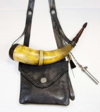 Mark Elliott Pouch and Horn Above is an early Virginia banded horn with an early Virginia pouch. The horn is approximately 15″ around the outside curve with a 2 3/4″ base plug.Photo by Mark Elliott